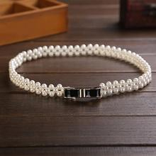 Noble Three Rows Pearls Waist Belts Alloy Bowknot Buckles Waistbands Ceintures Girls Dress Clothing Decoration os865
