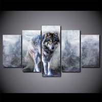 5 Piece HD Printed White Smoke Wolf Framed Wall Picture Art Poster Painting On Canvas For Living Room Cuadros Decoracion Salon