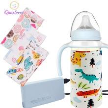 Детская Бутылочка, USB грелка, переносная, для путешествий, для улицы, для молока, сохраняющая тепло, изолированная сумка для младенцев, термостат, подогреватель пищи, крышка для бутылочки для кормления