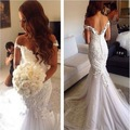 Sexy Mermaid Wedding Dress 2017 Sweetheart Neck Cap Sleeve Appliques Tulle High Quality Vestido De Noiva