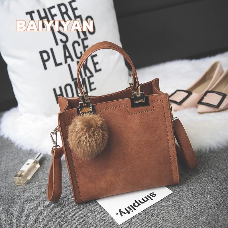 2017 New Arrival fur ball Women Handbag Fashion Matte Leather Shoulder Bag Small