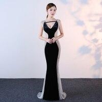 MarFoli Luxury Crystal Floor Length Full Manual Sexy Star Dress Evening Dress Cocktail Dress Tulle Illusion
