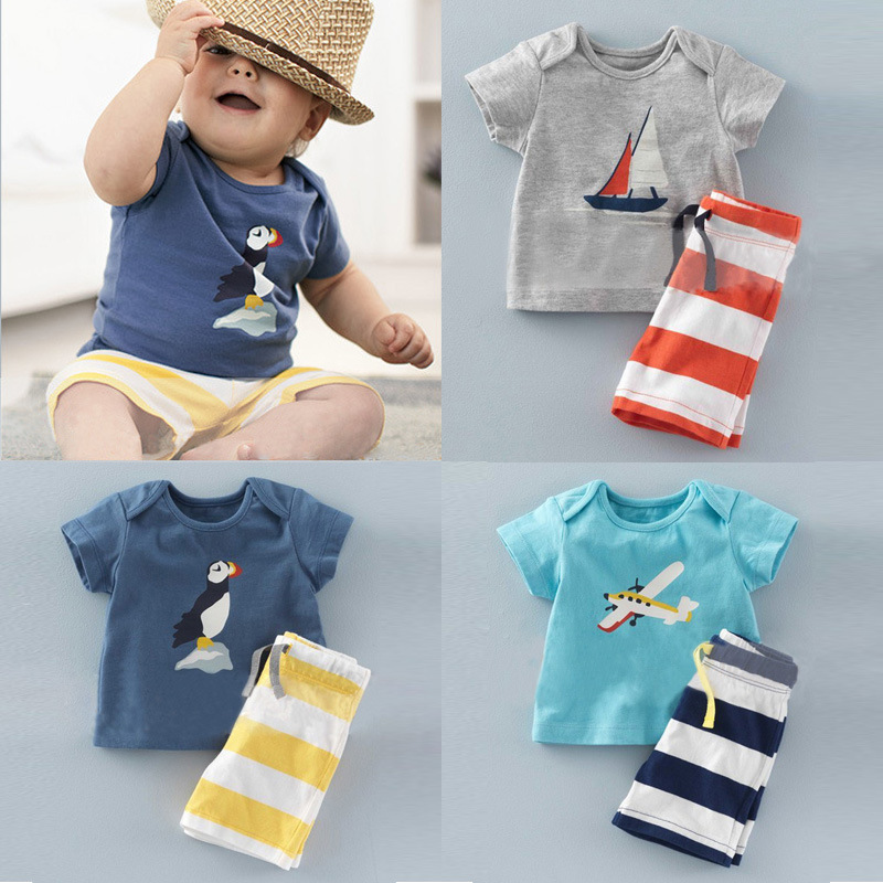 Boys Clothing Sets Summer Baby boys Casual Printing Cotton T-shirt and Striped shorts Suit Children Kids Clothes Sets Costume