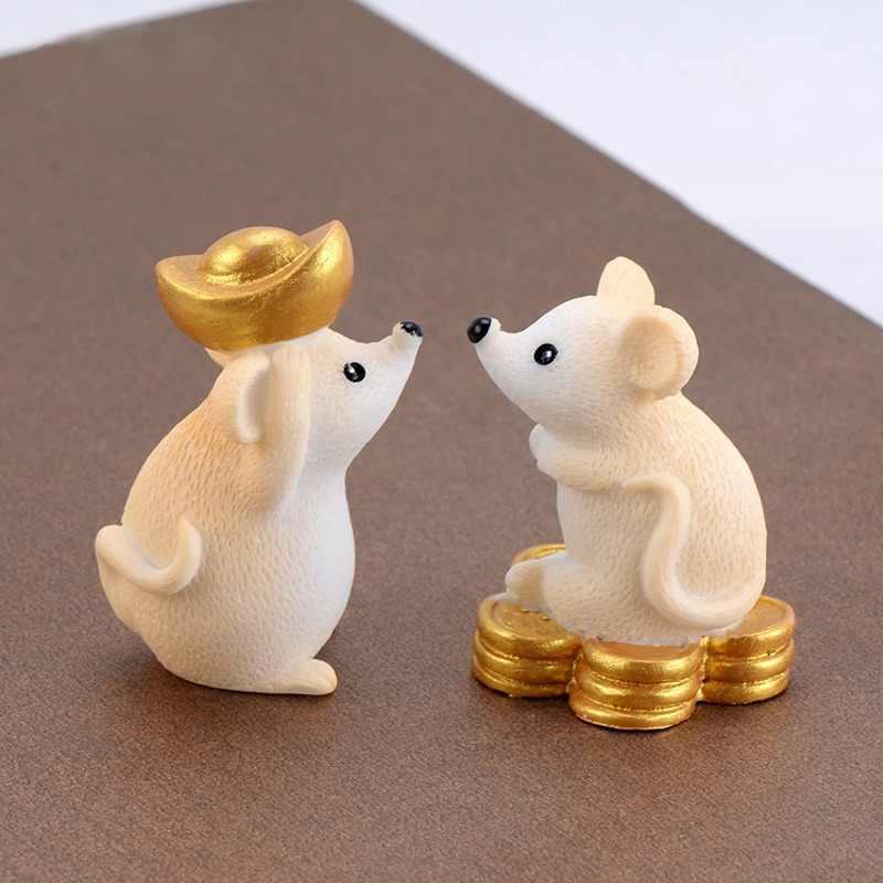 Sending Money Mouse Model cartoon Animal action Figures Miniature Figurine home Dollhouse Decoration DIY Accessory toy gift
