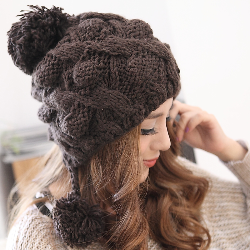 BomHCS Handmade Knitted Hat Women's Autumn Winter Thick Warm Ear Muff Cap Beanie bomhcs korean cute autumn winter warm color mosaic knitted hat ear muff 100% handmade women beanie cap