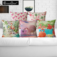 Flamingo Pattern Cotton Linen Throw Pillow Cushion Cover Square Seat Car Home Decoration Sofa Decor Decorative