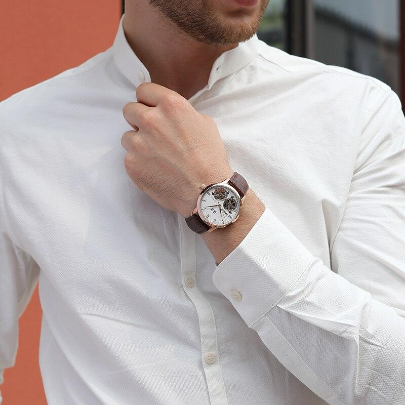 HAIQIN heren Horloges 2019 Nieuwe Luxe Merk Mode/Sport/Machines/Automatische/Waterdicht/Lederen /horloge Mannen-in Mechanische Horloges van Horloges op  Groep 2