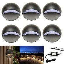 6Pcs/set 50mm 12V 1.6W IP67 Black Half Moon Outdoor Garden Yard Pathway Plinth Corner LED Deck Stairs Step Fence Post Lights Kit