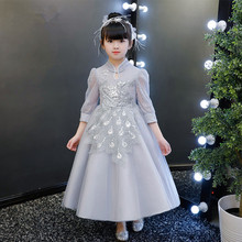 Elegant Gray Tulle Girls Wedding Dresses Appliques Ball Gowns Girls First Communion Princess Gown Kids Birthday Party Dresses floral girls ball gown dress luxury kids girl wedding clothing birthday party communion banquet vestidos appliques dresses s183