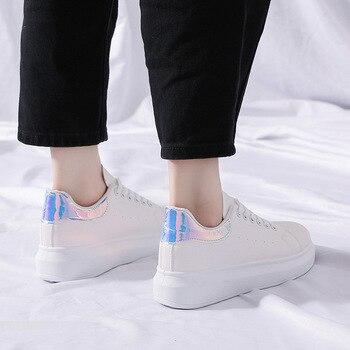 Primavera nuevo diseñador cuñas zapatos blancos plataforma femenina cordones zapatillas mujeres Tenis Femenino Casual Mujer Zapatos Mujer S2-62