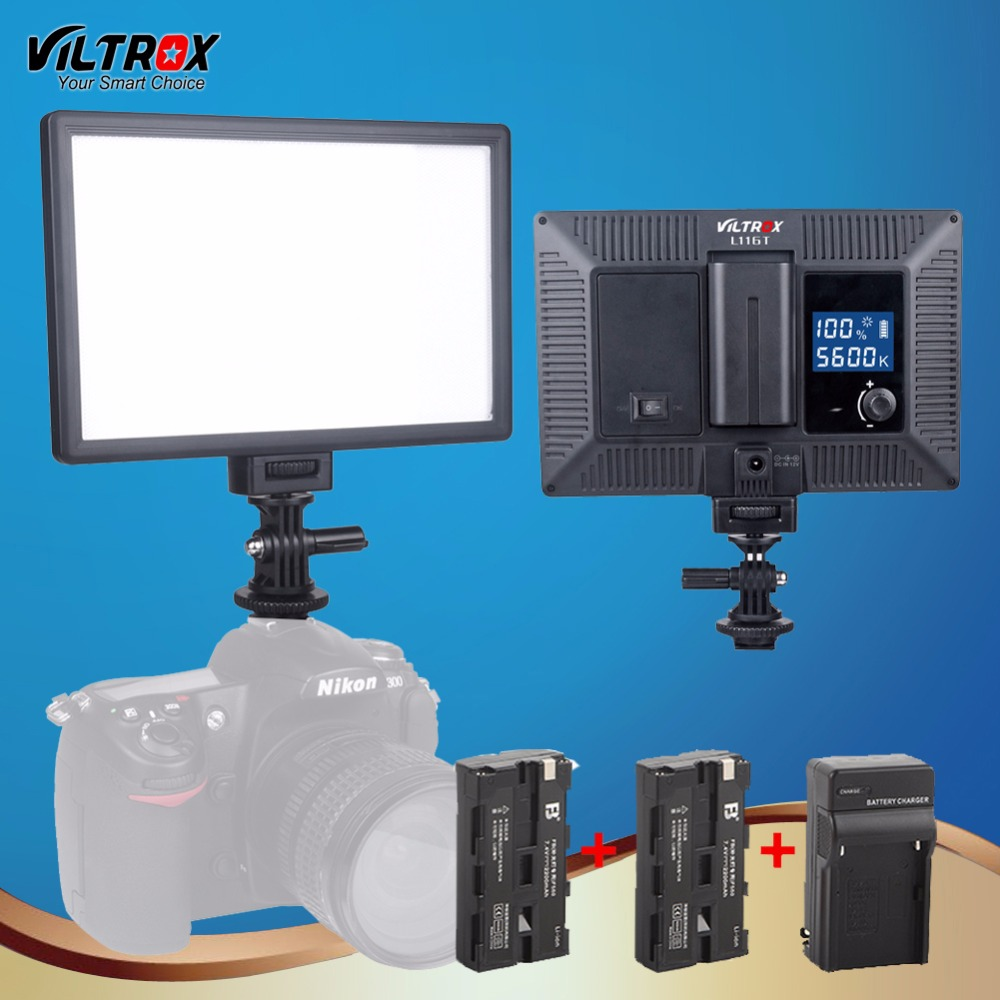 Viltrox L116T LCD Lighting Studio LED Light For Video Bi-Color & Dimmable Adjustable Luminance fr DSLR Camera+2 Battery+Charger