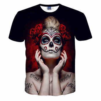 Camiseta Unisex hombres verano manga corta sexo tatuaje mujer calavera estampado personaje 3D Camiseta ajustada cuello redondo Hombre camiseta
