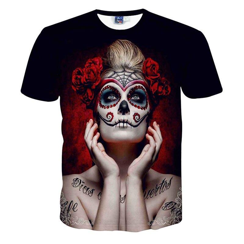 Unisex camiseta hombres verano manga corta sexo tatuaje mujer cráneo imprimir carácter 3D Camiseta Slim Fit O cuello hombres camiseta