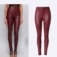 High Waist Pants Wine Red PU Leather Skinny Pencil Full Length Coated Pants Stretchable Fashion Butt Lift Sexy Women Pants