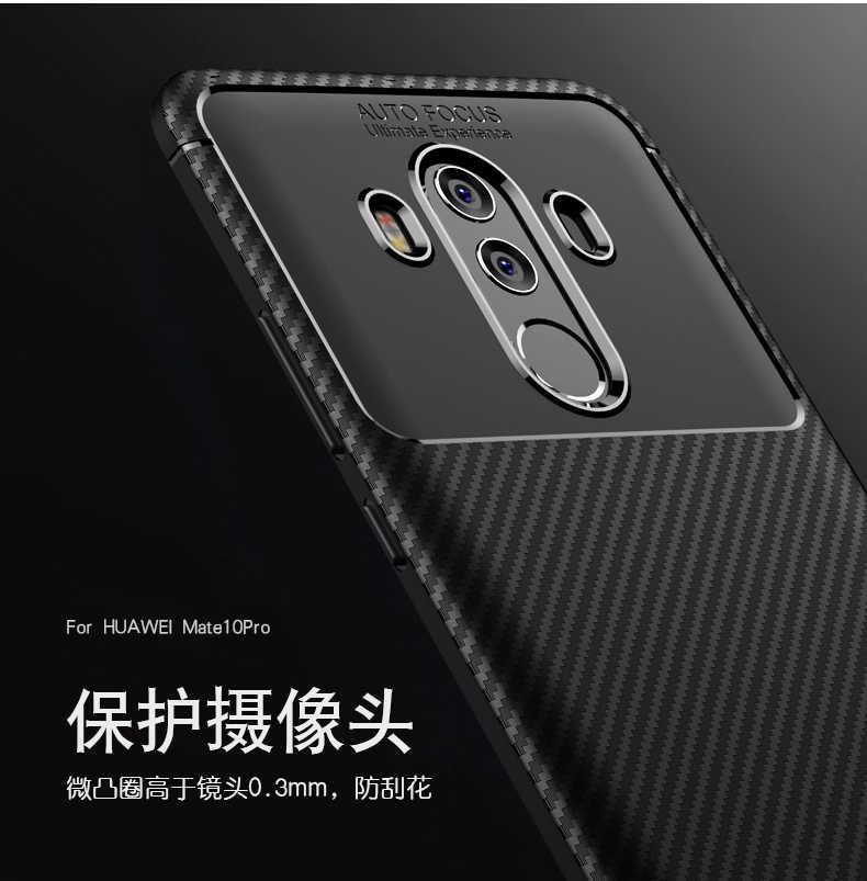 Uftemr untuk HUAWEI Mate 10 Pro Carbon Fiber Matte Anti-Knock TPU Silikon Back Cover untuk mate 10 Shockproof Shell