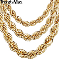Trendsmax Fashion Jewelry 2/3/4/5/6/7mm Stainless Steel Gold Filled Rope Chain Necklace Unisex Womens Mens Chain GN249-251