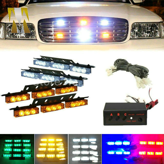 4x9 led 36LED Car grille light Strobe Flash Warning EMS Car Truck Light Flashing Firemen Lights DC 12V цена и фото