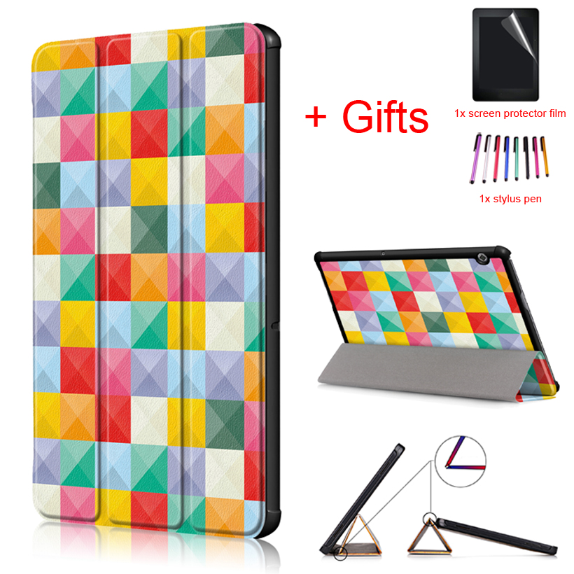 New Flip Case For Huawei Mediapad T5 10 AGS2-W09/L09/L03/W19 10.1 Inch Tablet Magnetic Protective Funda Cover+Film+Pen