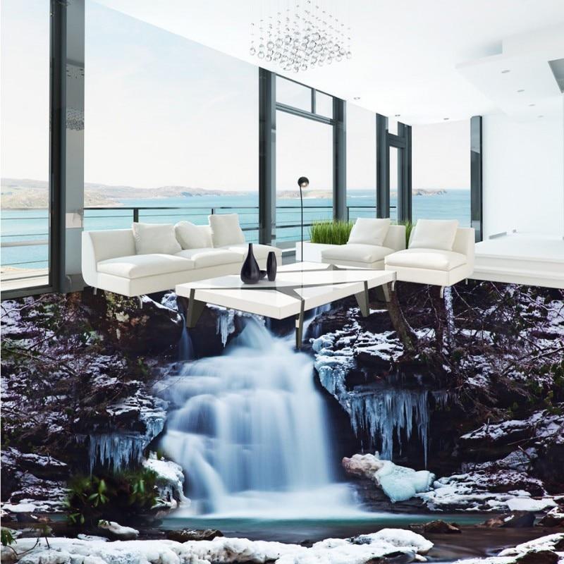 Free Shipping Shocking waterfalls 3D floor thickened waterproof bedroom bathroom flooring living room study lobby mural