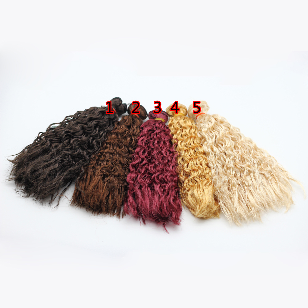 1pcs 25cm*100CM long Curly Brown Falxen Black Khaki Natural Color quality thick Doll Wigs hair for 1/3 1/4 BJD doll fashion long curly hair wigs gold black