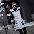 Ladies Long Vest Women's Winter Vests Waistcoat 2016 Down Cotton Padded Hooded Warm Vest Female Sleeveless Jacket
