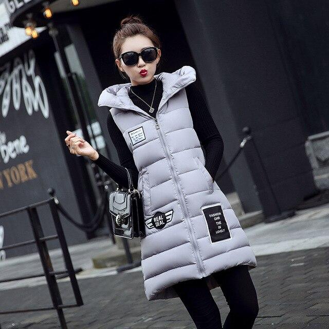 Ladies Long Vest Women's Winter Vests Waistcoat 2016 Down Cotton Padded Hooded Warm Vest Female Sleeveless Jacket