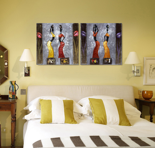 2 pieces Modern painting negro woman with long dress on oil canvas ...