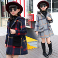 Kids Girls Woolen Children Long Windbreaker Jacket Spring Autumn Kids Coats Clothing Grey Dark Blue