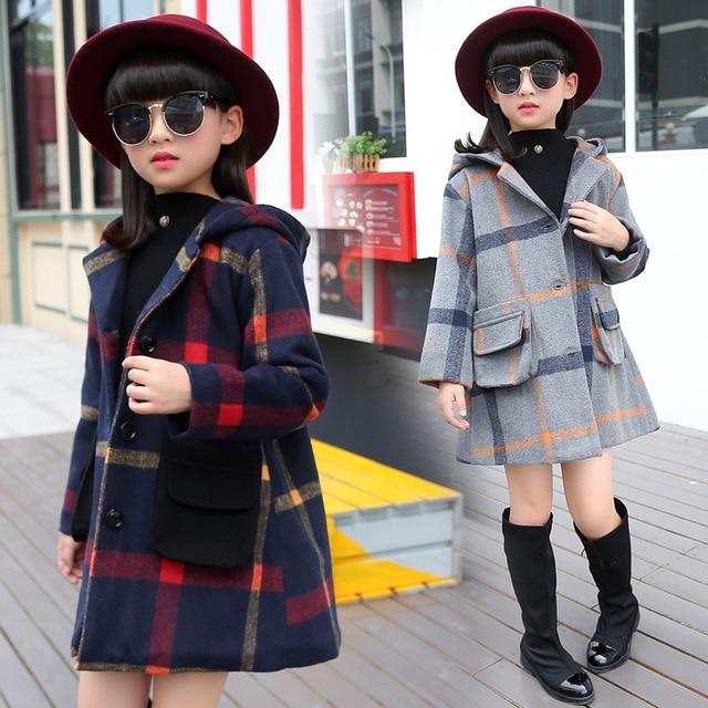 Kids Girls Woolen Children Long Windbreaker Jacket Spring Autumn Kids Coats Clothing Grey Dark Blue