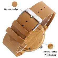 SUPER DAD Wood Watch Simple Bamboo Male Clock Casual Genuine Leather Band Men's Quartz Wristwatch Top Gifts for Dad Father's Day