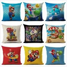 Super Mario Cushion Cover Linen Cartoon Printed Throw Pillow Sofa Car Cushions Home Decoration Pillowcase 45*45cm
