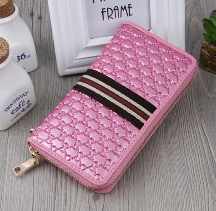 New 2018 Luxurious Zipper Clutch Wallet Women Long Wallets Money Purse Brand Vintage Striped  Card Holder Phone Coin Purse