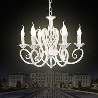 Christmas European Fashion Vintage Chandelier Ceiling lamp 6 Candle Lights Lighting Fixtures Iron Black/White Home Lighting E14