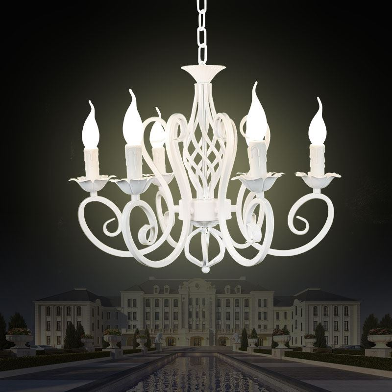 Christmas European Fashion Vintage Chandelier Ceiling Lamp 6 Candle Lights Lighting Fixtures Iron Black White