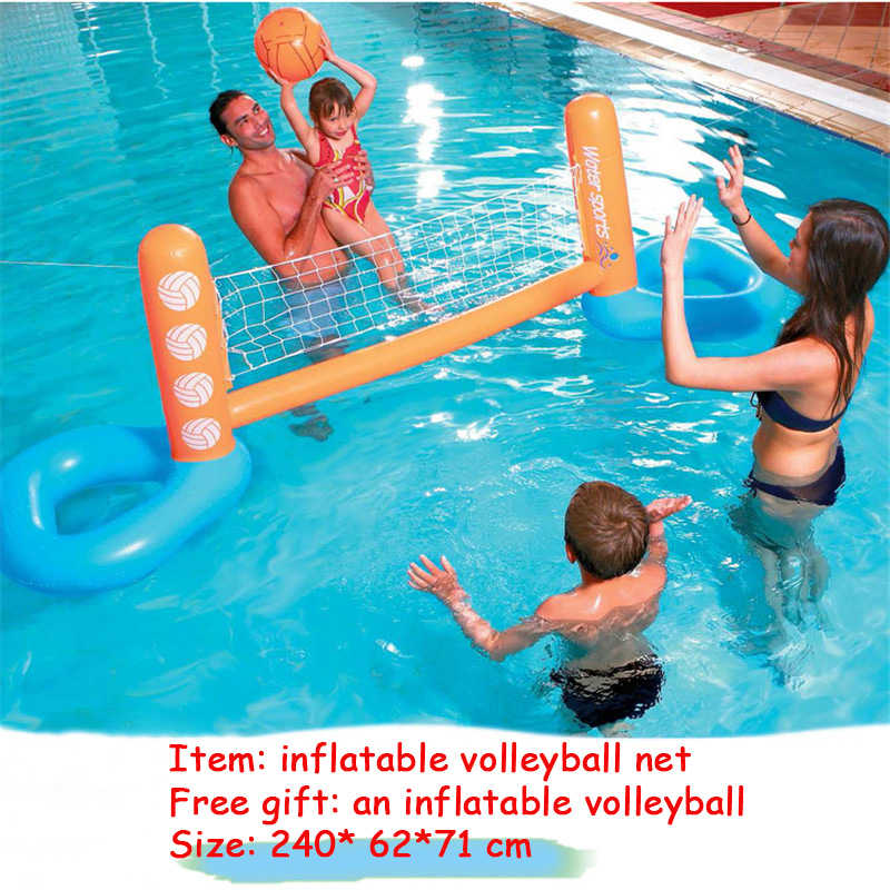 Pool Floats Football Volleyball Basketball Pool Toys Water Sports Games Inflatable Floating Island Boia Piscina For Adults Kids kingtoy big size large inflatable crocodile pool for 2 kids floats summer children pool toys water toys