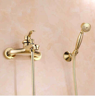 High Quality Gold finished shower head, titanium gold bath & shower faucet set bathroom shower faucet, water saving shower head