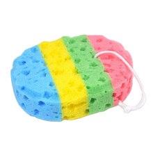 1 pc Yeni Varış Dört-renk oval yosun banyo sünger banyo ürünleri