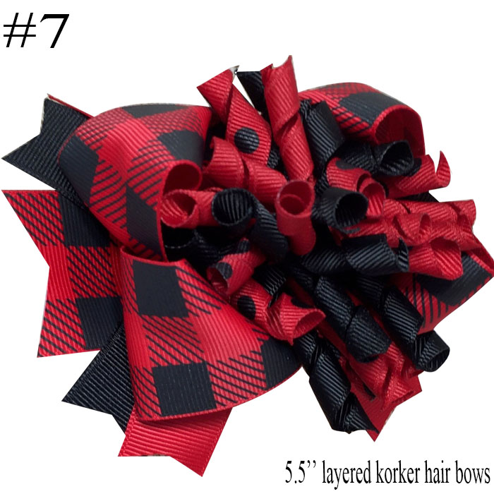 free shipping 10pcs Buffalo Plaid bows christmas Hair Bows With Clips plaid Kids Girls Princess Handmade Boutique bows - Цвет: 2018102402007