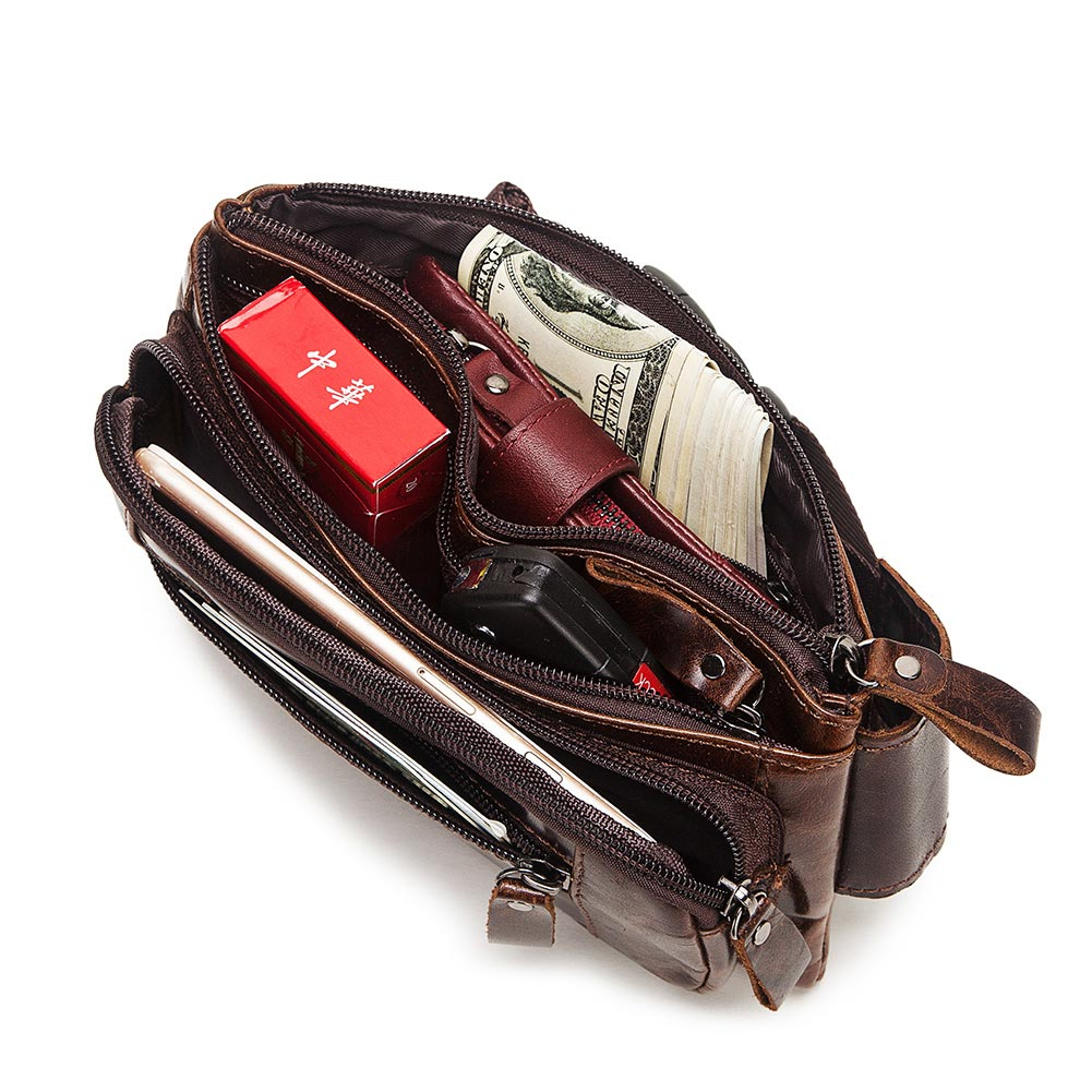 Image 4 - KAVIS Vintage 100% Cowhide Genuine Leather Men Waist Bag Male Packs Belt Loops Chest Bag Mobile Phone Holder Pouch Male PurseWaist Packs   -