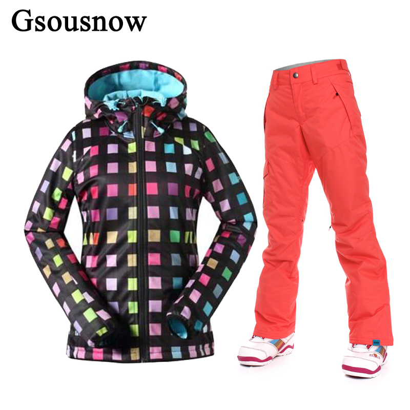 Gsou Snow Women's Skiing Suit Ski Jacket and pants sets Snowboarding Set Waterproof Warm Winter Clothing Snow Coat Trousers gsou womens winter suit waterproof 10k breathable winter jacket pants women ski suit for mountain skiing and snowboarding sets