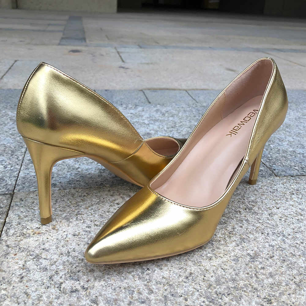 6a8a4464d8 Veowalk Shiny Gold Women Sexy Stilettos High Heels Ladies Wedding Bridal  Pumps Solid Color Pointed Toe Slip On Party OL Shoes