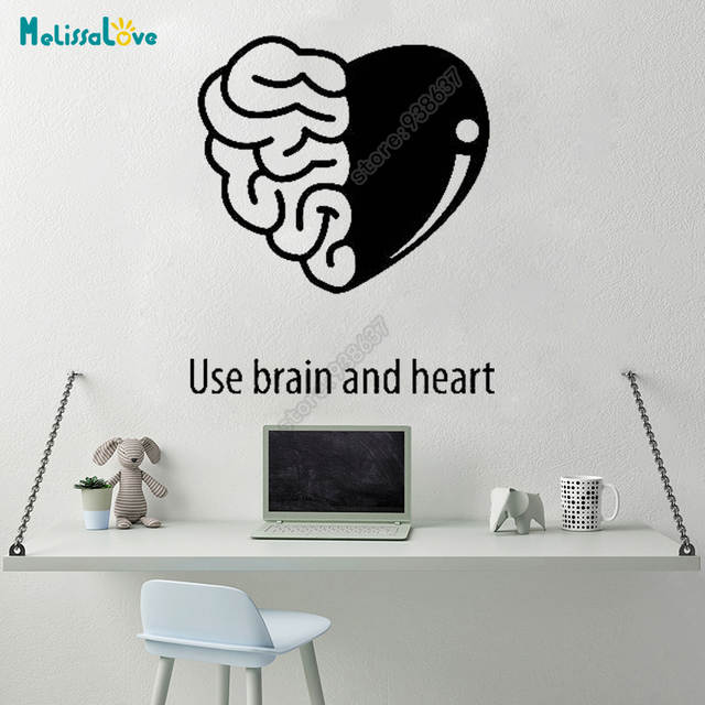 online shop use brain and heart office team work decal heart design
