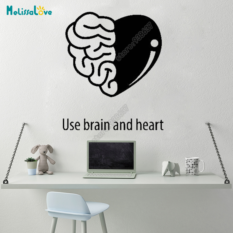 Use Brain And Heart Office Team Work Decal Heart Design Decor Quote Sticker Company Removable Vinyl Wall Stickers B635