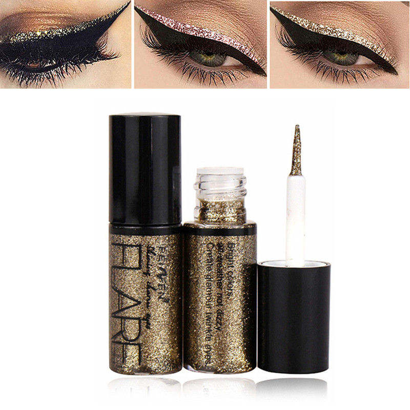 Professional New Shiny Eye Liners Cosmetics For Women Pigment Silver Rose Gold Color Liquid Glitter Eyeliner Cheap Makeup Beauty