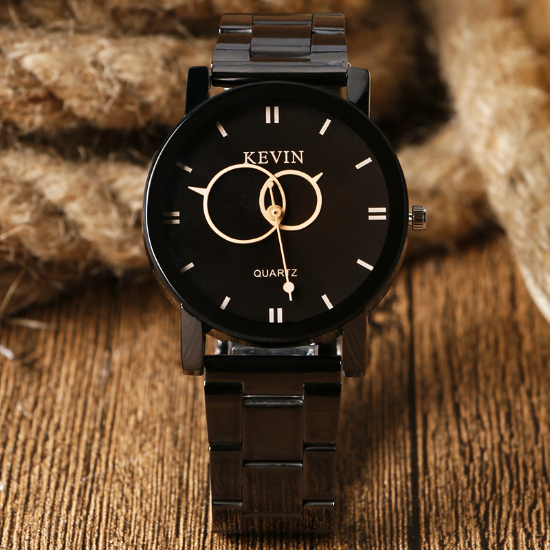 Fashion Quartz Watch Two Circle Design Full Black Stainless Steel Wrisrwatch Men Women Dress Watches Relogio Masculino Feminino other voices full circle cd