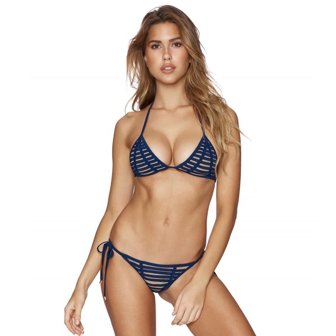 Bikini Striped Brazilian Bikini Push Up Cut Out Swimsuit Women Cheeky Bikinis High Cut Swimwear Bandage Bikinis Set
