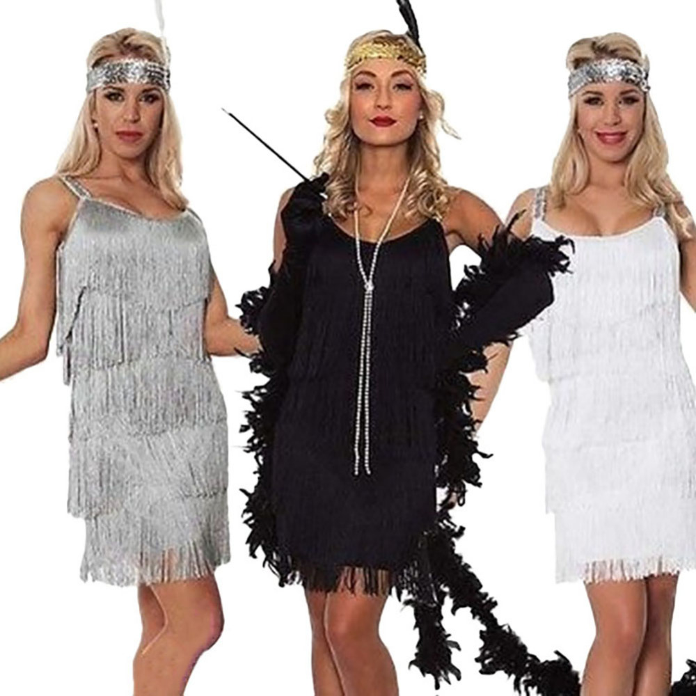 Ladies Deluxe 20s Roaring 1920s Flapper Costume Sequin Pearls Outfit Fancy Dress