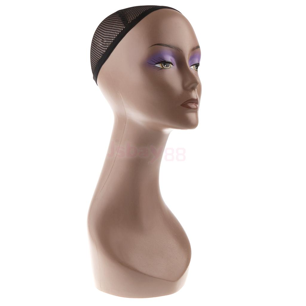 Free Standing Stable Female Plastic Mannequin Manikin Head Model Wigs Hair Glasses Necklace Scalf Headset Display