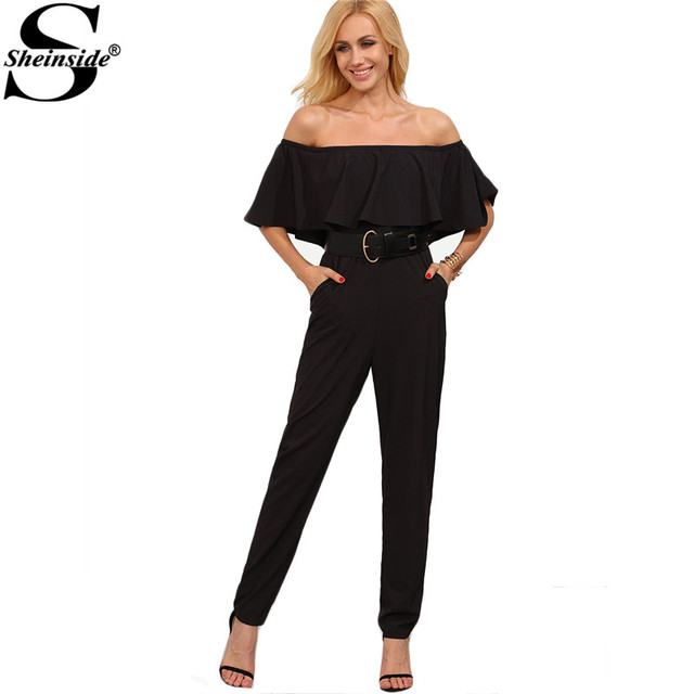 Sheinside Female Summer Fashion Clothing Plain Black Off The Shoulder Twin Pocket Ruffle Half Sleeve Jumpsuit