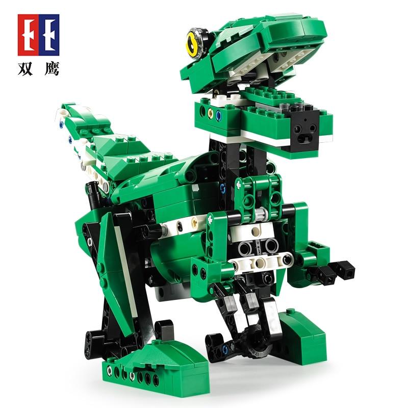 Technologie blocs de construction jouet blocs de construction crocodile super 2 en 1 télécommande dinosaure fonction sonore illumination